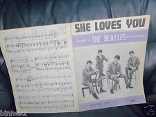 THE BEATLES ORIGINAL SHEET MUSIC 1963 SHE LOVES YOU NORTHERN SONGS LIMITED