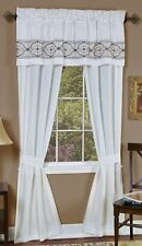 """Window in a Bag""""- one rod treatment-curtain silk embroidery w/ valance- white"""