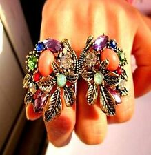 Vintage style bronze crystal flowers double finger ring
