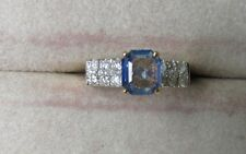 14K Engagement Ring with Cornflower Blue Ceylon Sapphire and Diamonds Q33