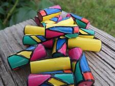 (15) VTG GEOMETRIC  PAINTED FESTIVE TUBE UNUSUAL CHUNKY WOOD BEADS CRAFTS