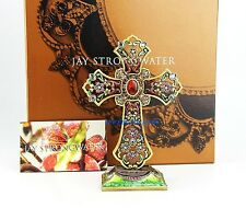 JAY STRONGWATER THERESA TAPESTRY FLORAL CROSS SWAROVSKI NEW USA BOX DUST BAG