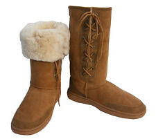 Ultra Tall Laceup Ugg Boots Chestnut Brown Aus Sheepskin Moulded Sole Wool Boot