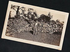 Antique Photograph Man Standing By Rock Wall With Rifle / Gun & Dead Animal