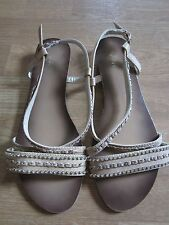 Flyfor Beige Leather Rhinestone  Sandals Shoes Size 39