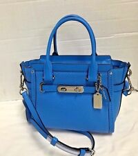 100% Authentic NWT Coach Swagger 21 Carryall in Pebble Leather Blue Azure 37444