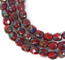 50 Firepolish Czech Glass Faceted Round Beads - Opaque Red - Picasso 4mm