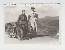 Two Man Pose to ARIEL Motorcycle Sidecar Vintage 1941 Bulgarian Real Photo
