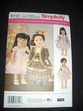 "Simplicity 8112 Pattern 18"" Doll Clothes Fits American Girl Heigl Victorian"