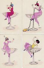 4  Xavier Sager Glamour Art Nouveau old pcs Hand coloured by B. G. Paris 529