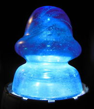 ODDBALL MILKY SAPPHIRE BLUE INSULATOR-LIKE MEXICAN FENCE POST ORNAMENT.