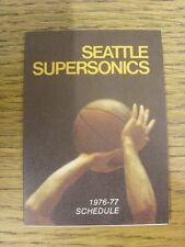 1976/1977 Fixture Card: Basketball - Seattle Supersonics (fold out style). Any f