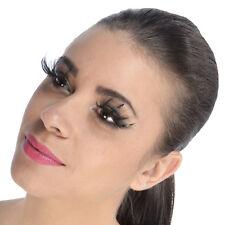Faux cils ultra longs épais plumes noires originaux soirée pin-up burlesque
