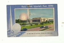 NEW YORK WORLDS FAIR 1939 POSTCARD, TRYLON AND PERISPHERE, EXPRESSWAY
