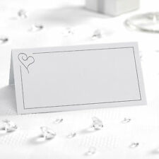 50 TABLE PLACE CARDS Name Setting WHITE SILVER HEART  Wedding Engagement Parties