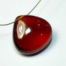 14.5mm Madagascar Hessonite Garnet Smooth Heart Briolette Bead