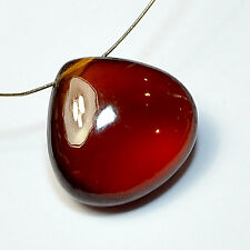 16mm Madagascar Hessonite Garnet Smooth Heart Briolette Bead