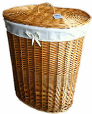 LARGE FRENCH NATURAL WICKER LINEN LAUNDRY BASKET AND LINER