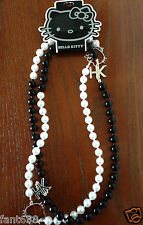 NWT HELLO KITTY BLACK & WHITE PEARL NECKLACE CLAIRE'S