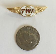 TWA TRANS WORLD AIRLINES ENAMEL WINGED HAT LAPEL PIN