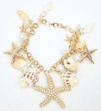 D25 Natural Ivory Seashell Gold Starfish Charm Bangle Bracelet
