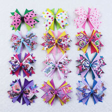 New 12pcs 4in baby girl colorful frozen princess shopkins hair bows 023-1-12 L
