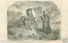 Hunting Grizzly Bear Captain John Palliser Expedition Canada GRAVURE PRINT 1860