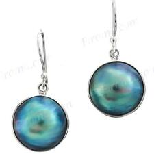 "11/16"" IRIDESCENT LUSTER BLUE MABE PEARL 925 STERLING SILVER earrings"