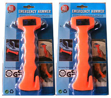 2 x EMERGENCY CAR WINDOW WINDSCREEN HAMMER SMASHER BREAKER + SEAT BELT CUTTER