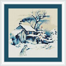 'Old Barn and Husky in the Snow'''  IS A 14ct CROSS STITCH CHART 4  dmc THREAD