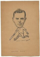 Cricket William Place 1940s sketch by cartoonist R Booch India Ӝ