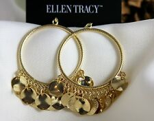 Ellen Tracy Gold Plated Cha Cha Hoop Disc Drop Earrings Statement Women Jewelry