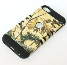 iPod Touch 5th 6th Gen - HARD SOFT RUBBER IMPACT CASE CAMO YELLOW DRY LEAVE OAK