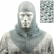 Steel 16 Gauge Knights Chain Mail Coif -- Battle-Ready Chainmail Hood Armor