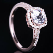 Solid 10k Rose Gold Pink Morganite Natural Diamond Cushion Halo Wedding Ring