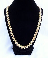 Basketweave Necklace Zig Zag Chevron Heavy Gold Tone Chain Link 24""