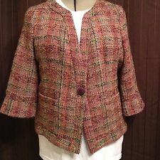 Coldwater Creek Jacket Coat Tweed One Button 3/4 sleeve Size 18 Autumn colors