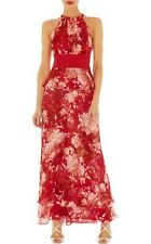 KAREN MILLEN LTD EDT RED & PINK FLORAL SILK MAXI DRESS SIZE 10 NEW (SAMPLE)
