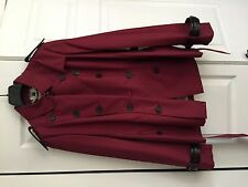 Red Burberry Trench with Leather accents and changeable looks NWT 14 / 16