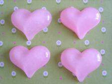 4 X Brillo Rosa Corazón Resina Dorso duro para Libros, Adorno Cabujón, Artesanías