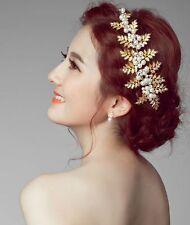 Feuille d'or vintage perle cristal mariée mariage bandeau cheveux clip HA020-06