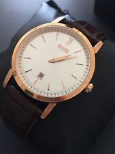 HUGO BOSS Men's Classic Brown Embossed Leather Rose Gold Dress Watch 1512634 NWT