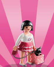 Playmobil Mystery Figure Series 8 5597 Lady Girl w/ Black Dog Leash Pink Basket