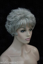 "Cos women""s gray  short curly  cosplay full wig"