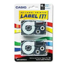 "GENUINE Casio XR-18WEB2S  3/4"" Blue on White Tape 2-Pack XR18WEB2S"