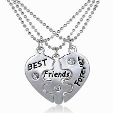 3Pcs/Set BFF Best Friends Forever Friendship Heart Pendant Choker Necklace Gift