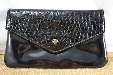 VINTAGE ALAN SUTHERLAND mock crocodile 1980s black patent clutch bag
