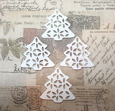 5x White wood christmas trees for jewellery/card embellishments/decorations 35mm