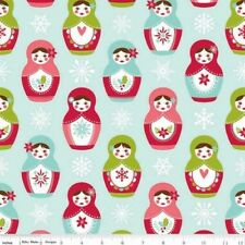 Riley Blake Merry Matryoshka by Carly Griffith 4380 Blue Matryoshka  Cotton Fab