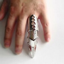 Gothic Punk Silver Rock Knuckle Full Finger Long Joint Armor Rings Jewelry Gift
